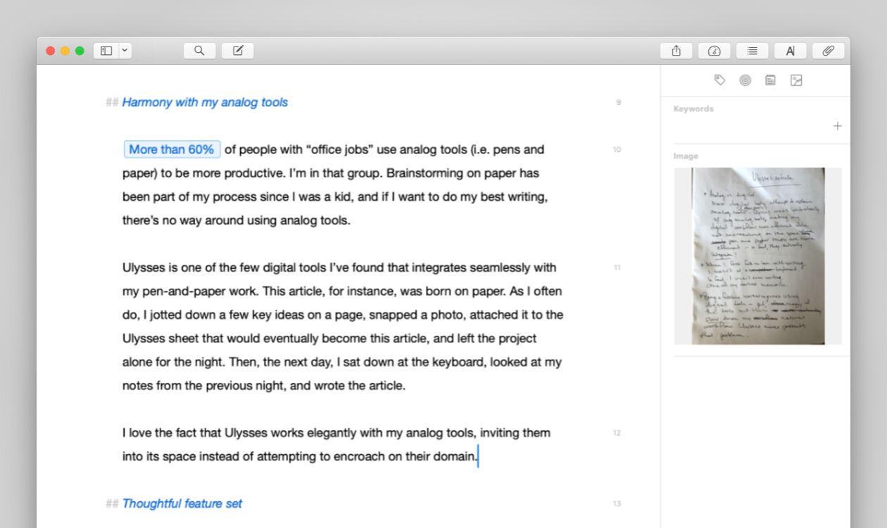 Screenshot of Ellen's editor with an photo of a notebook page visible in the attachment bar
