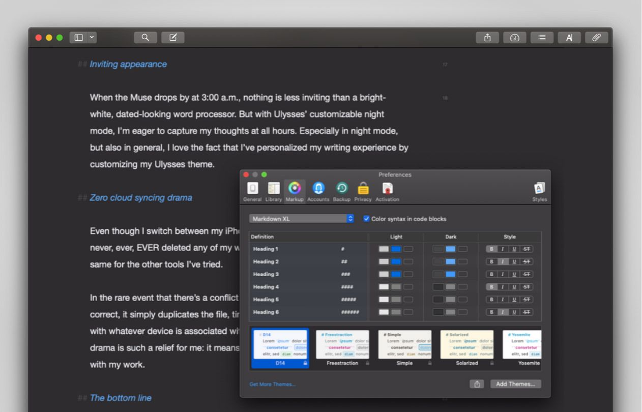 Screenshot of Ellen's editor in Dark Mode, with her theme preferences open