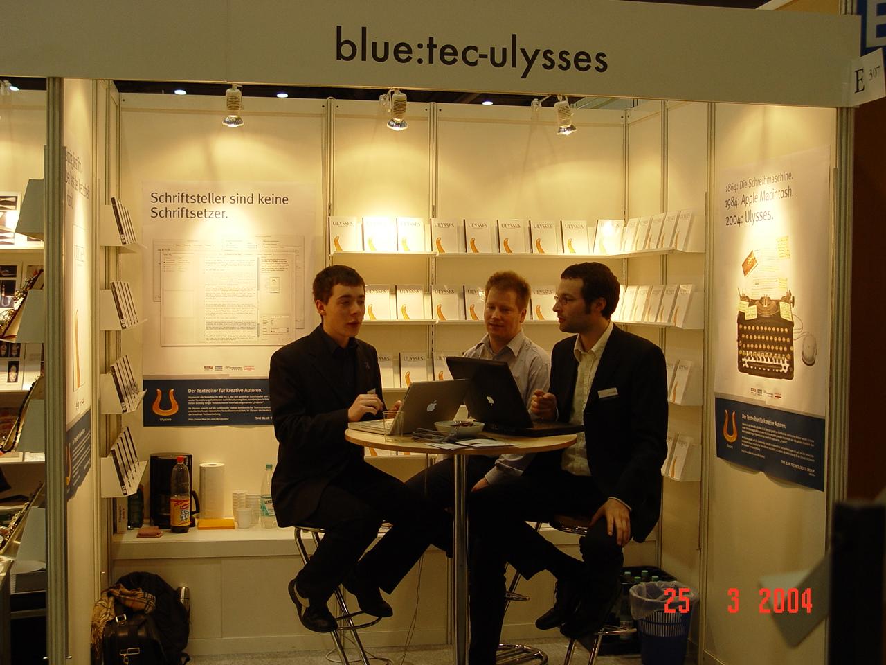 Ulysses booth at German book fair, 2004