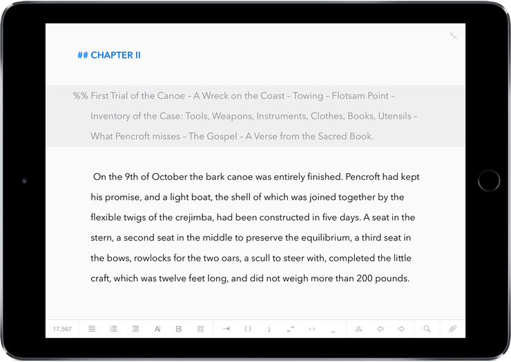 Ulysses for iPad When a Bluetooth Keyboard Is Attached