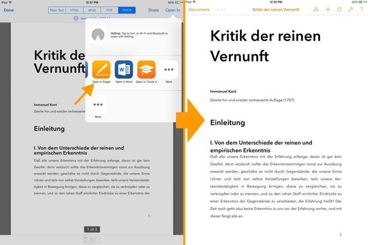 DOCX Export On iPad: Open in Pages