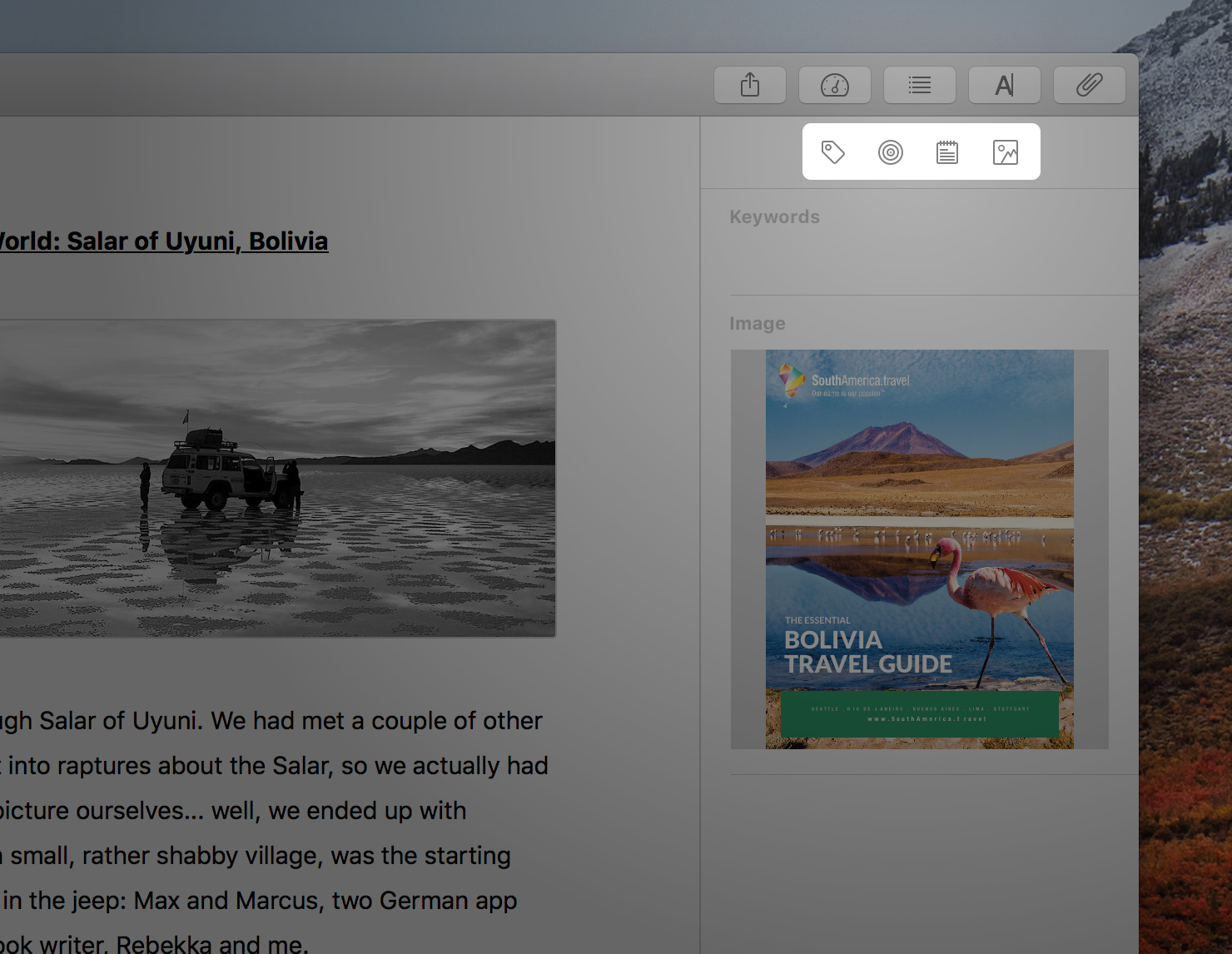 Attachments types: keywords, goals, notes and images/PDF files (from left to right)