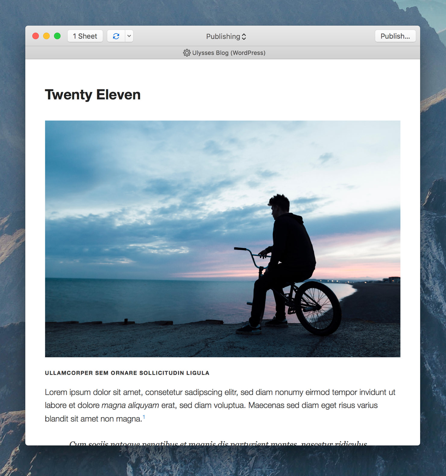 """Ulysses' export preview showing the preview style """"WP Twenty Eleven""""."""