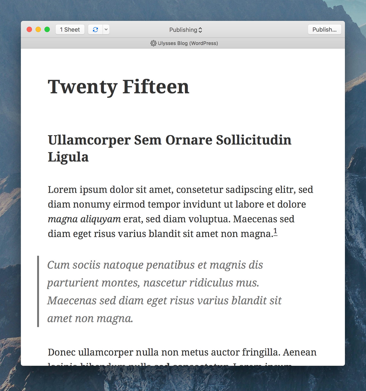 "Ulysses' export preview showing the preview style ""WP Twenty Fifteen""."