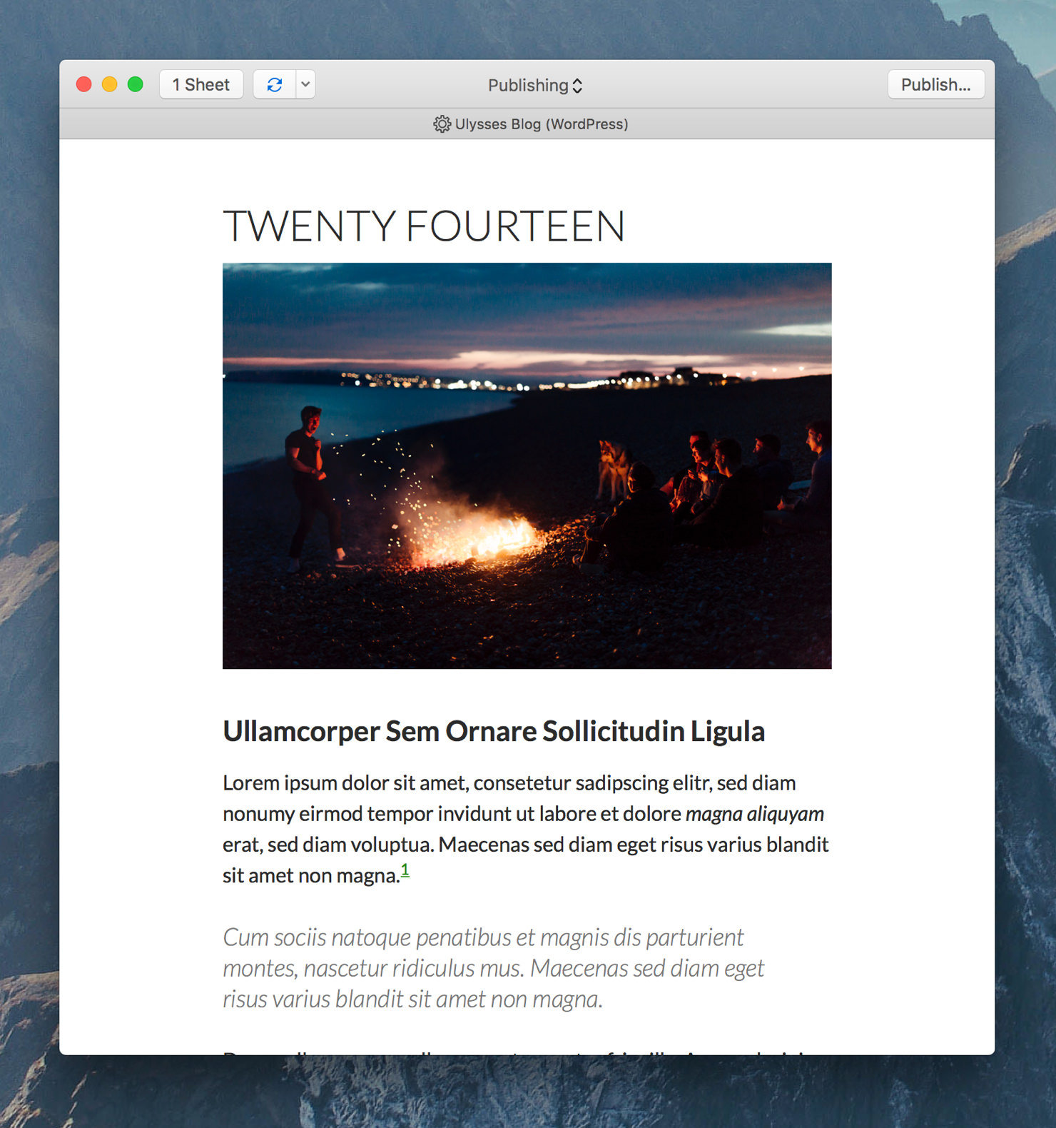 "Ulysses' export preview showing the preview style ""WP Twenty Fourteen""."