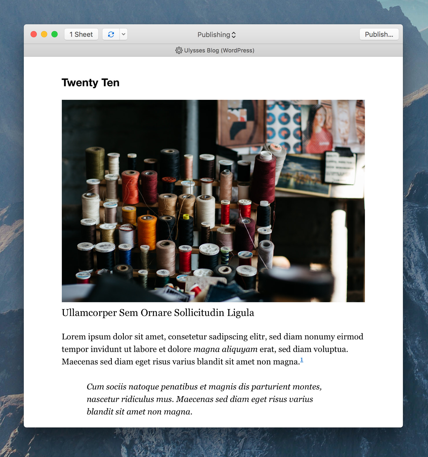 "Ulysses' export preview showing the preview style ""WP Twenty Ten""."