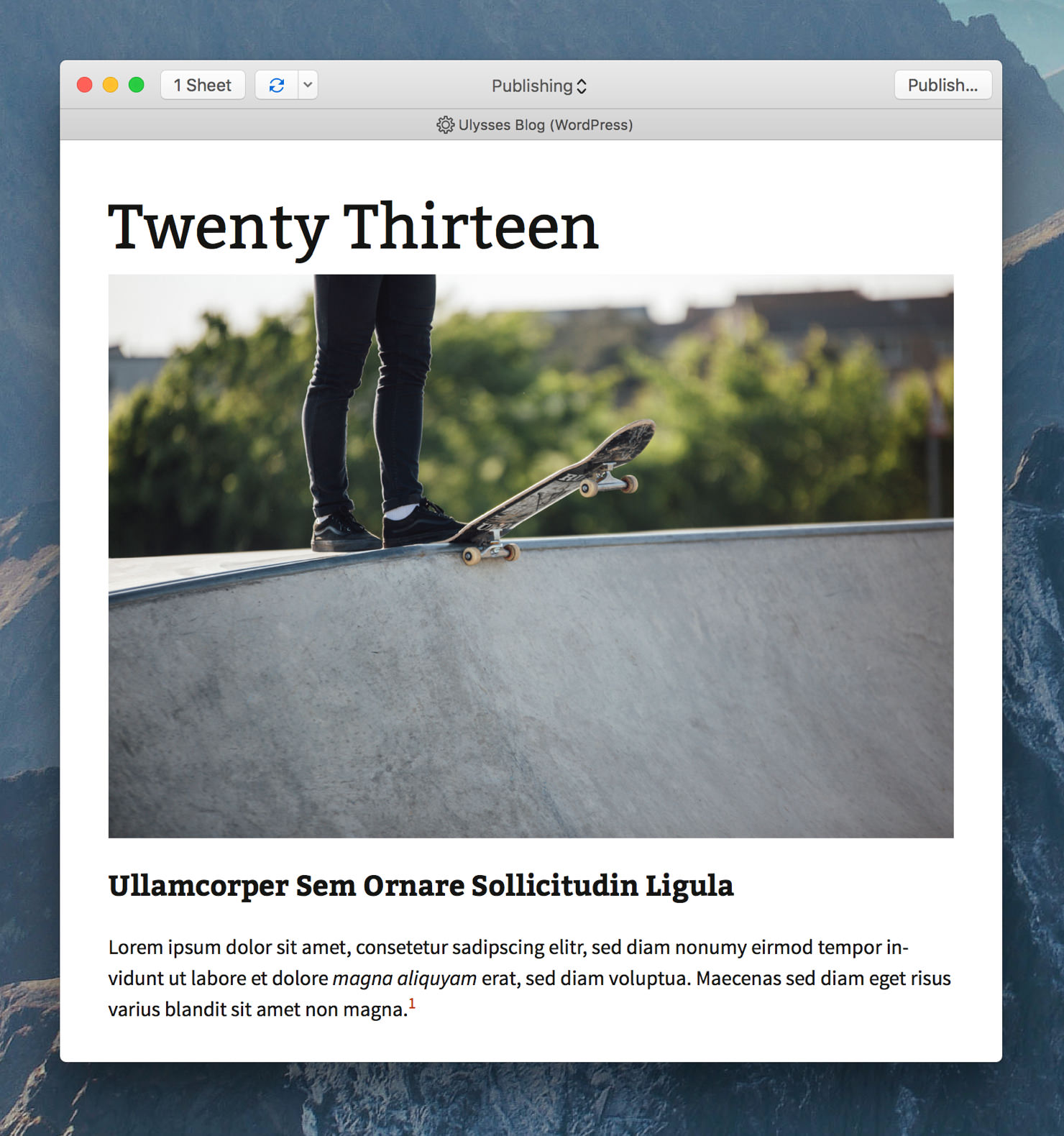 """Ulysses' export preview showing the preview style """"WP Twenty Thirteen""""."""