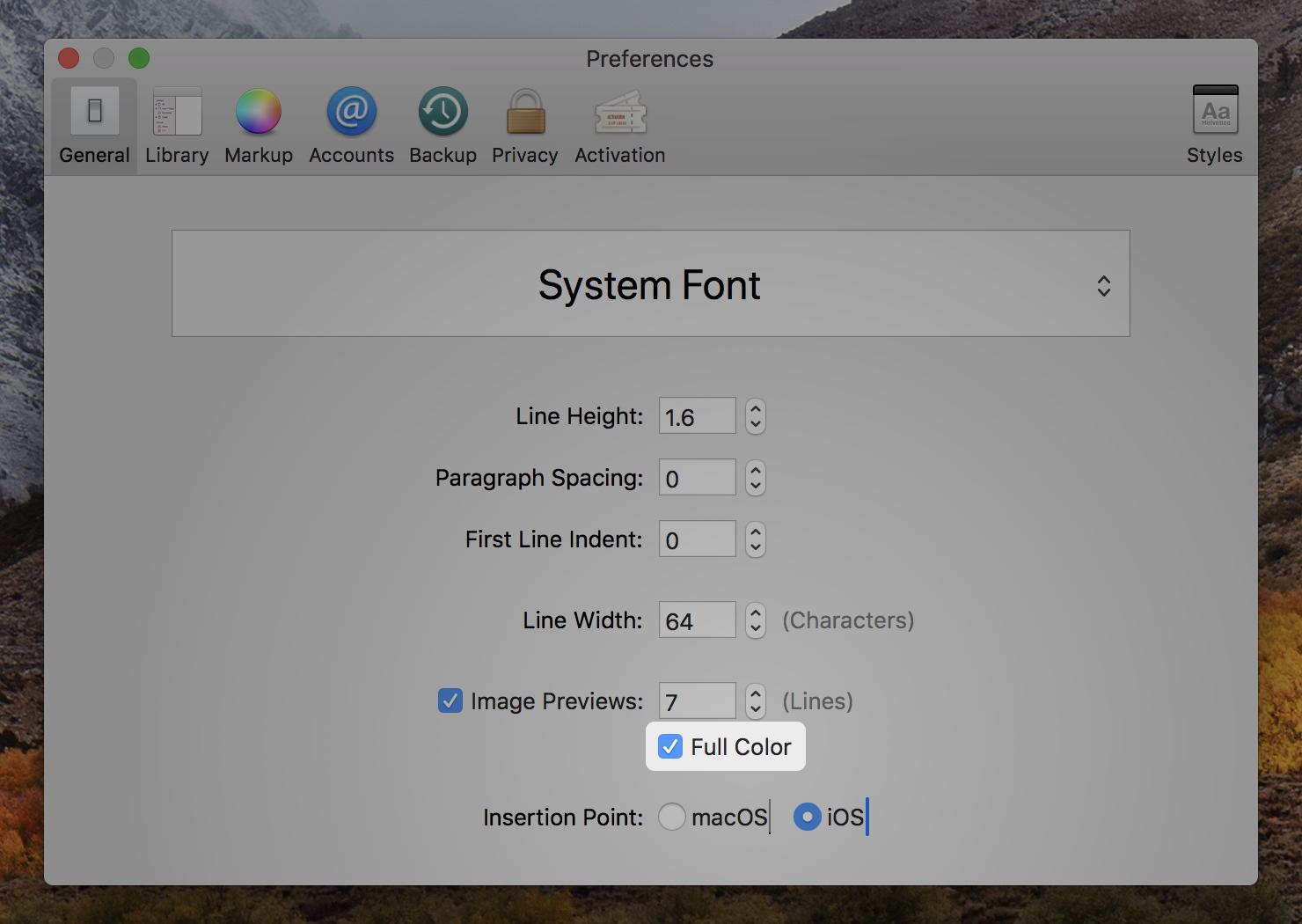 macOS General Preference menu