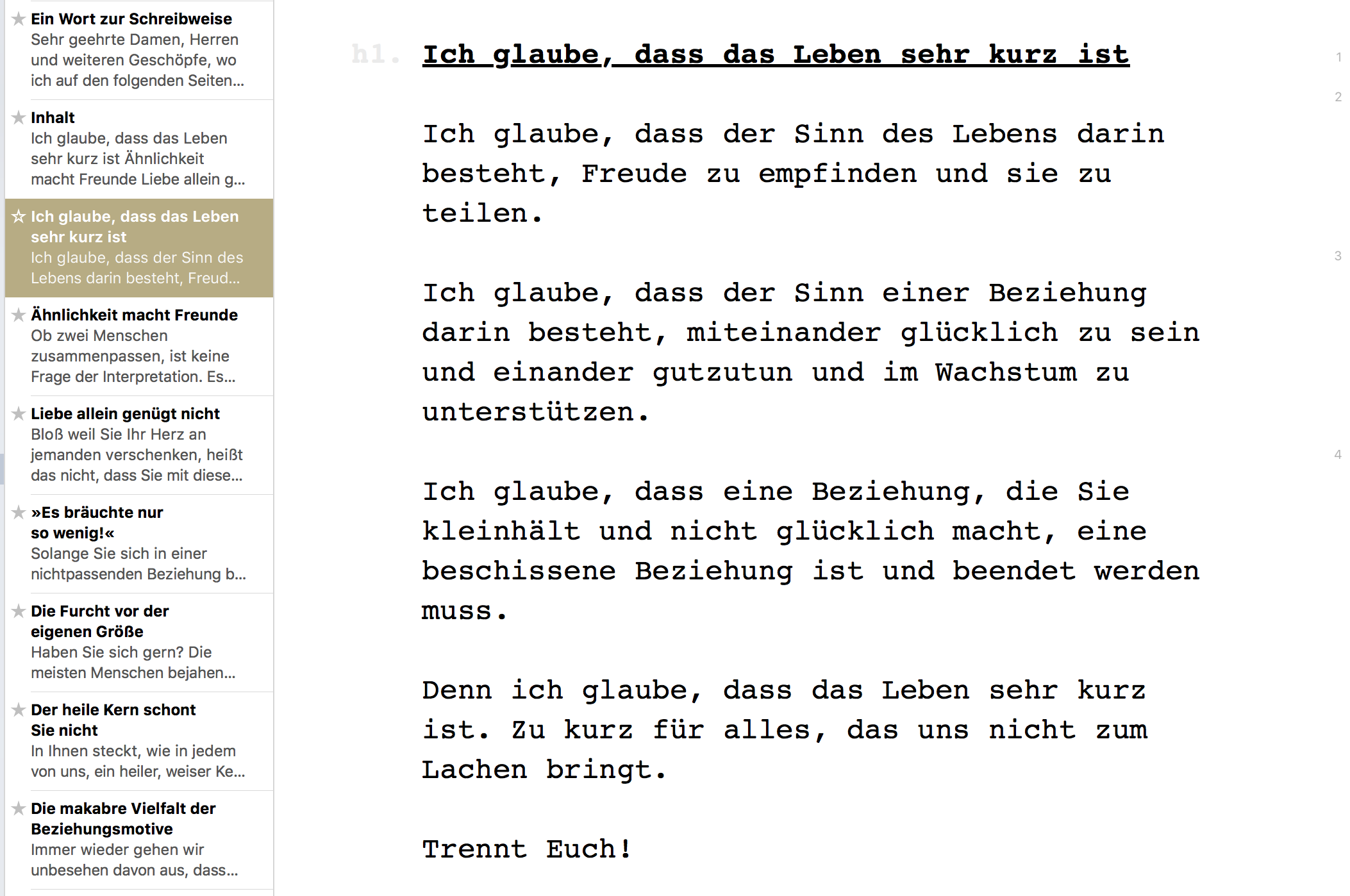 A screenshot from Meyer's essay Trennt euch!, written with Ulysses