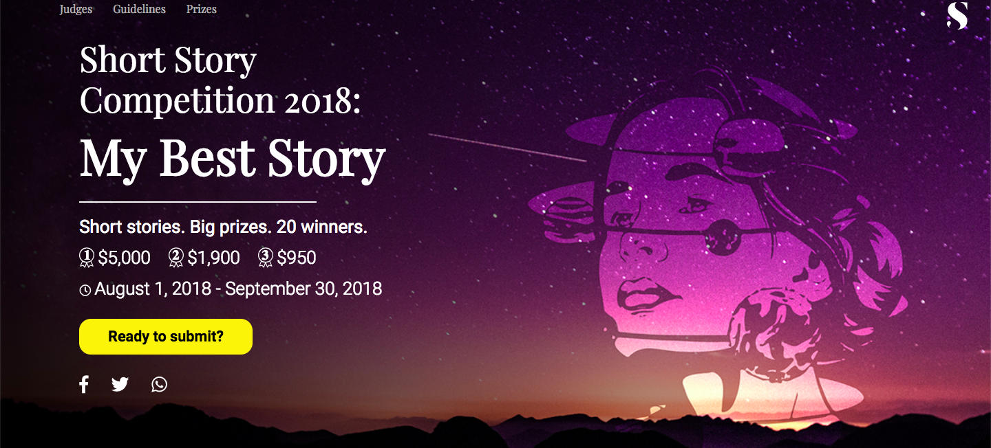 "Screenshot of the website announcing the ""My Best Story"" Competition"