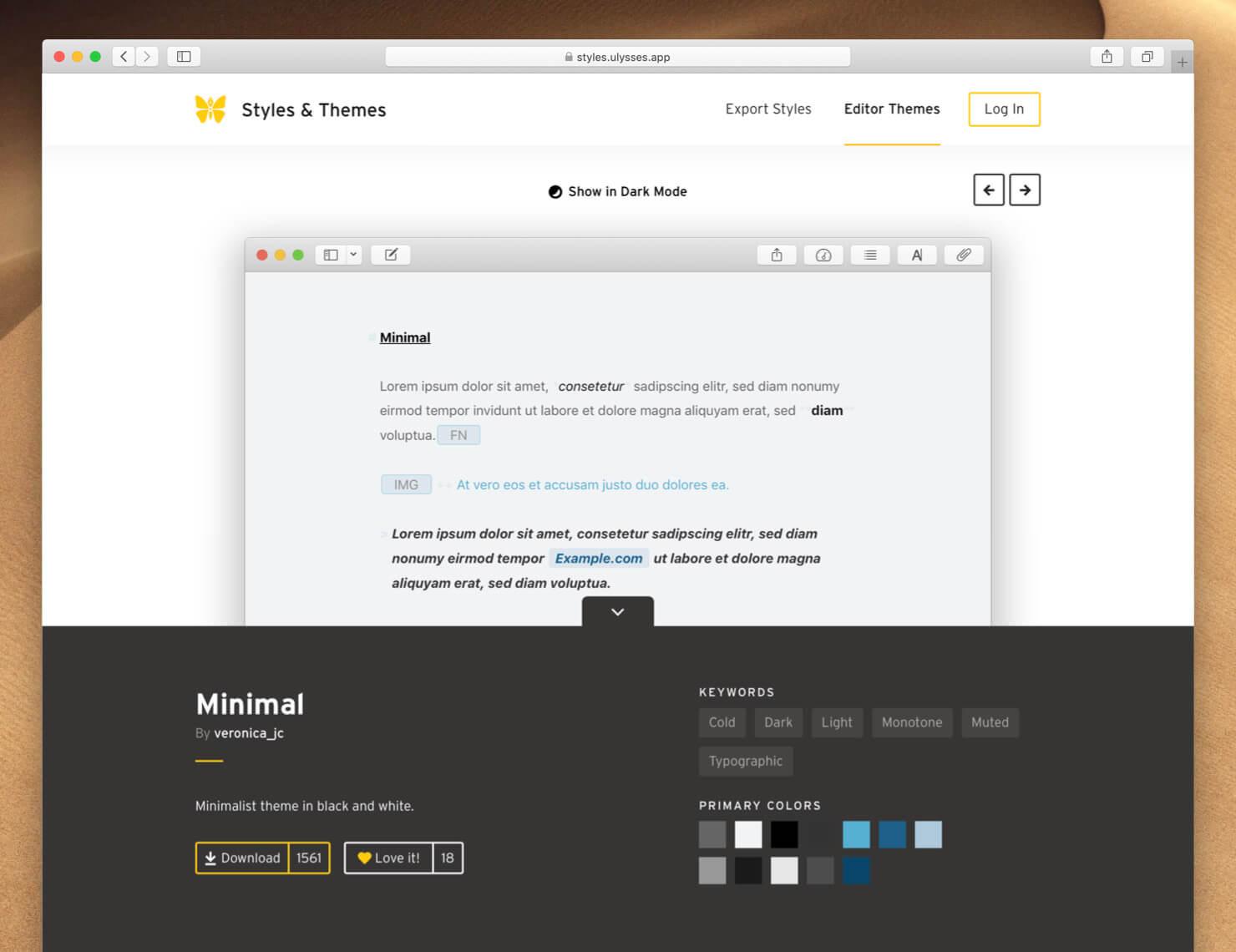Theme detail page