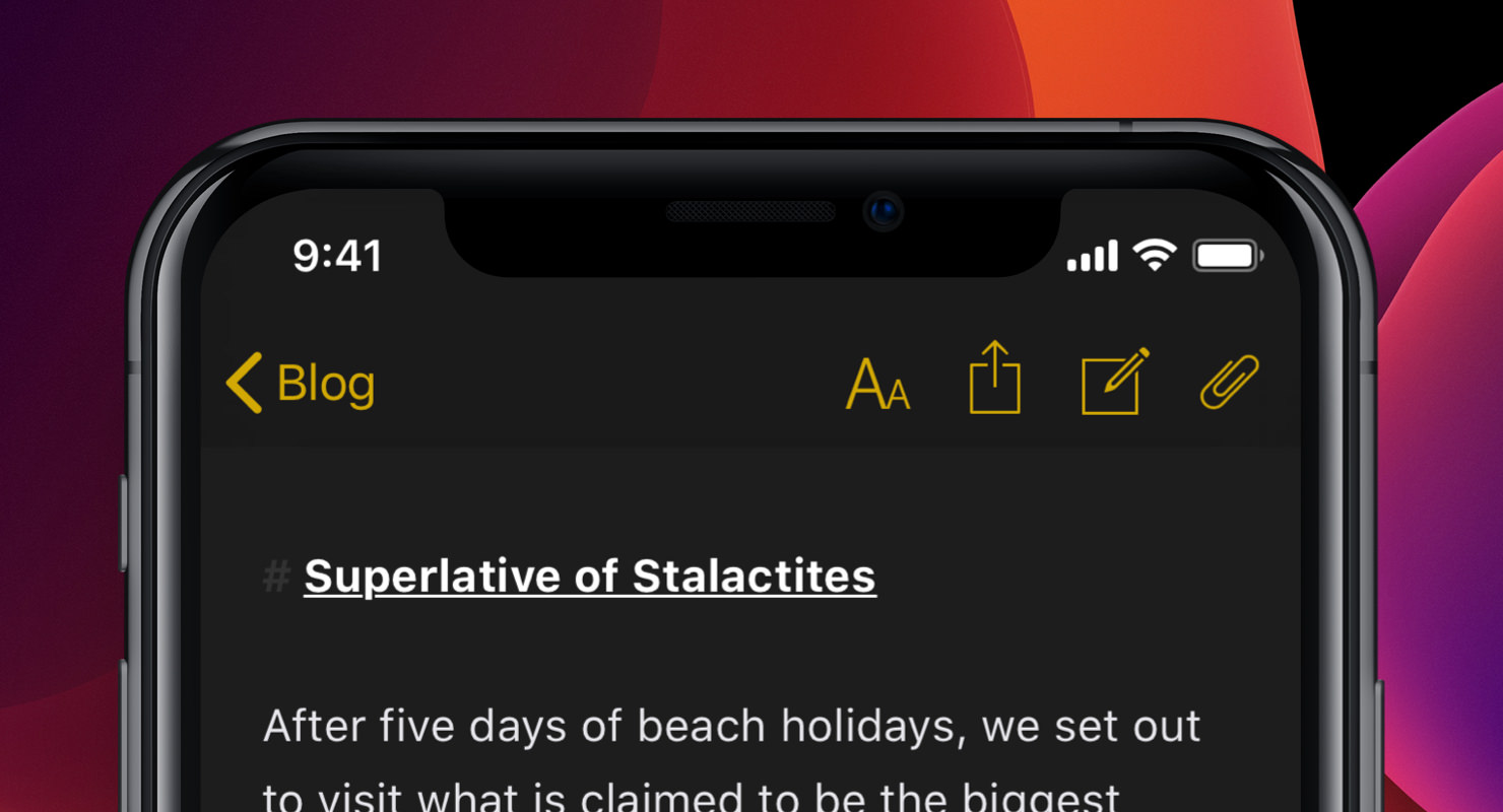 iPhone with Ulysses editor in Dark Mode open