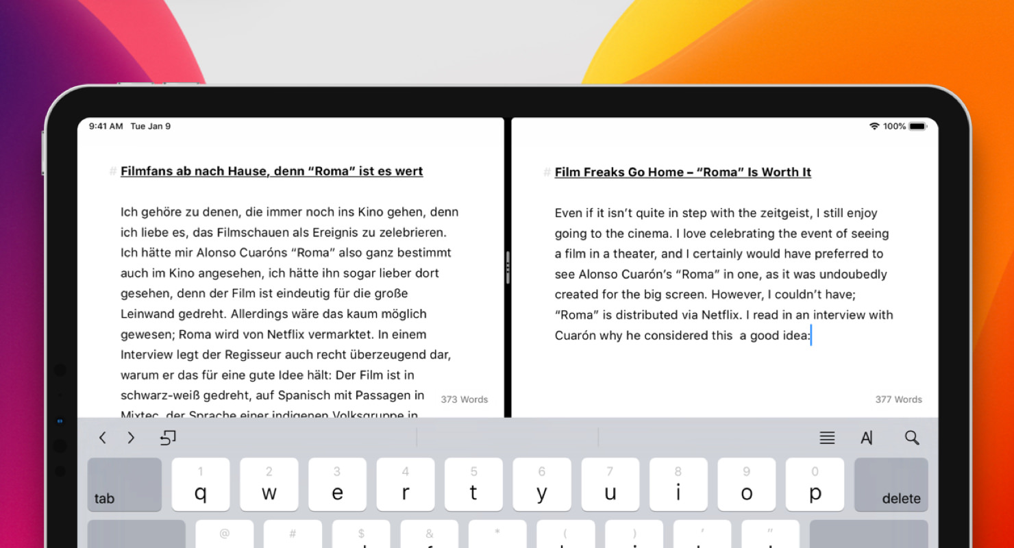 Ulysses' native iPad Split View