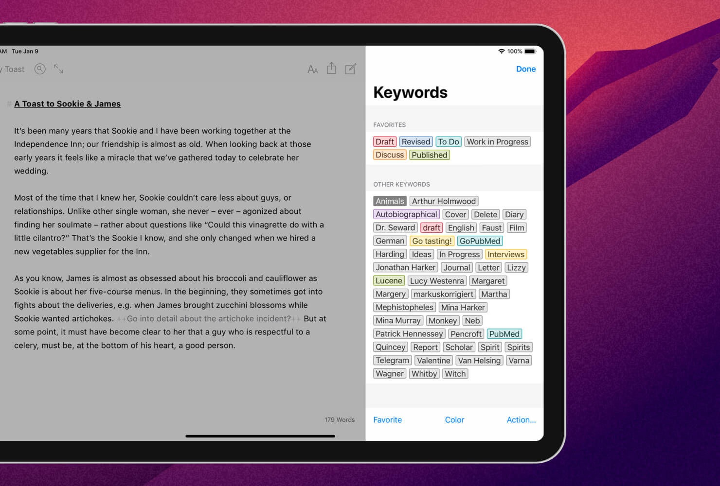 Keyword management on iPad