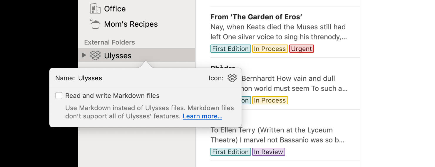 "To use Ulysses files in external folders, make sure to untick ""Read and write Markdown files"" in a folder's settings"
